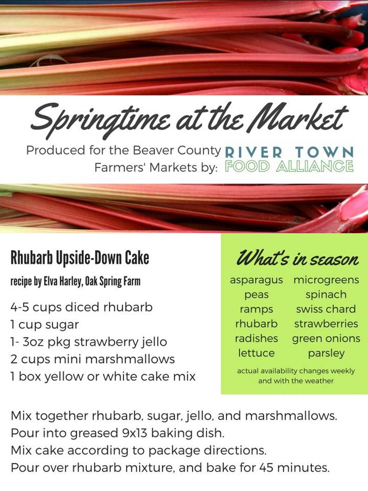 Rhubarb Upside-Down Cake - As the days get not only warmer but longer, this recipe is sure to delight with rhubarb grown locally in our county.