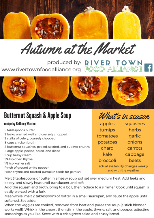 Butternut Squash & Apple Soup  - When the cold weather starts to set in, enjoy this soup from locally-grown apples, squash, and numerous other fall-loving items.