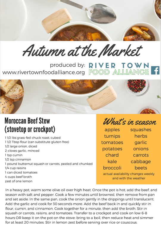 Moroccan Beef Stew - This stew is sure to delight as the days grow shorter. Enjoy it with beef from one of our local pastures, garlic grown here in the county, and spice it up with some of the locally-produced herbs and spices you can find around the county.