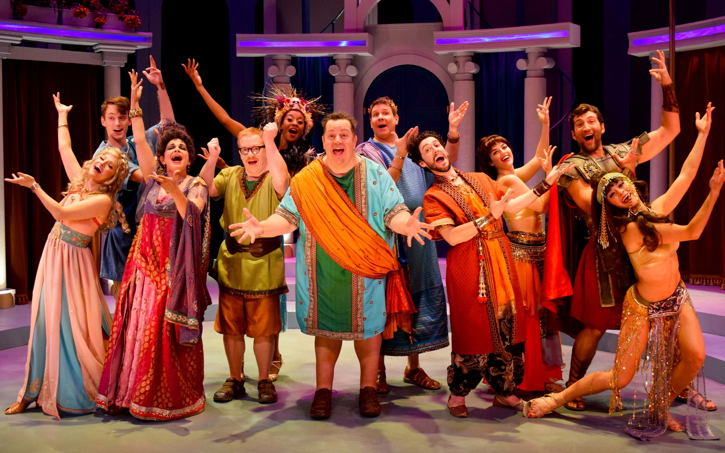 The Company of A Funny Thing Happened On The Way To The Forum at the Garry Marshall Theatre. Photo by Chelsea Sutton.