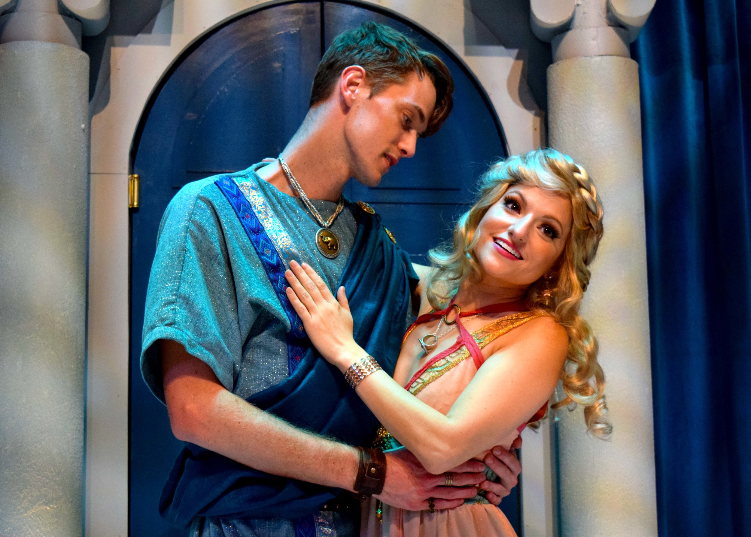 Hero (Michael Thomas Grant) and Philia (Nicole Kaplan) in A Funny Thing Happened On The Way To The Forum at the Garry Marshall Theatre. Photo by Chelsea Sutton.