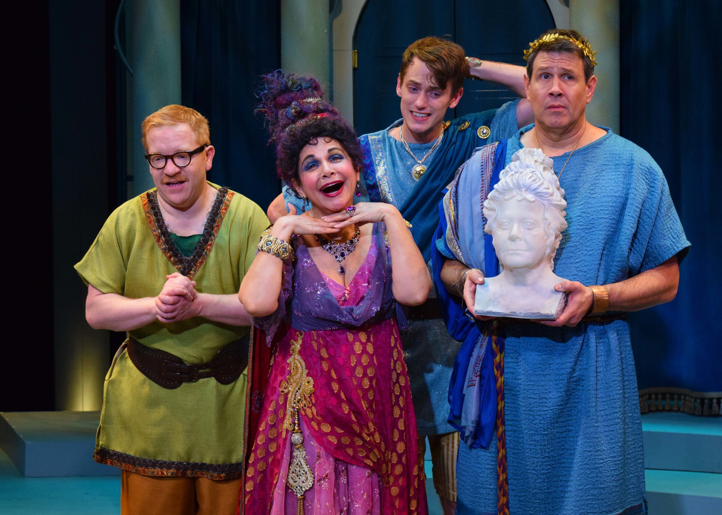 Hysterium (Ethan Cohn), Domina (Candi Milo), Hero (Michael Thomas Grant), and Senex (Kevin Symons) in A Funny Thing Happened On The Way To The Forum at the Garry Marshall Theatre. Photo by Chelsea Sutton.