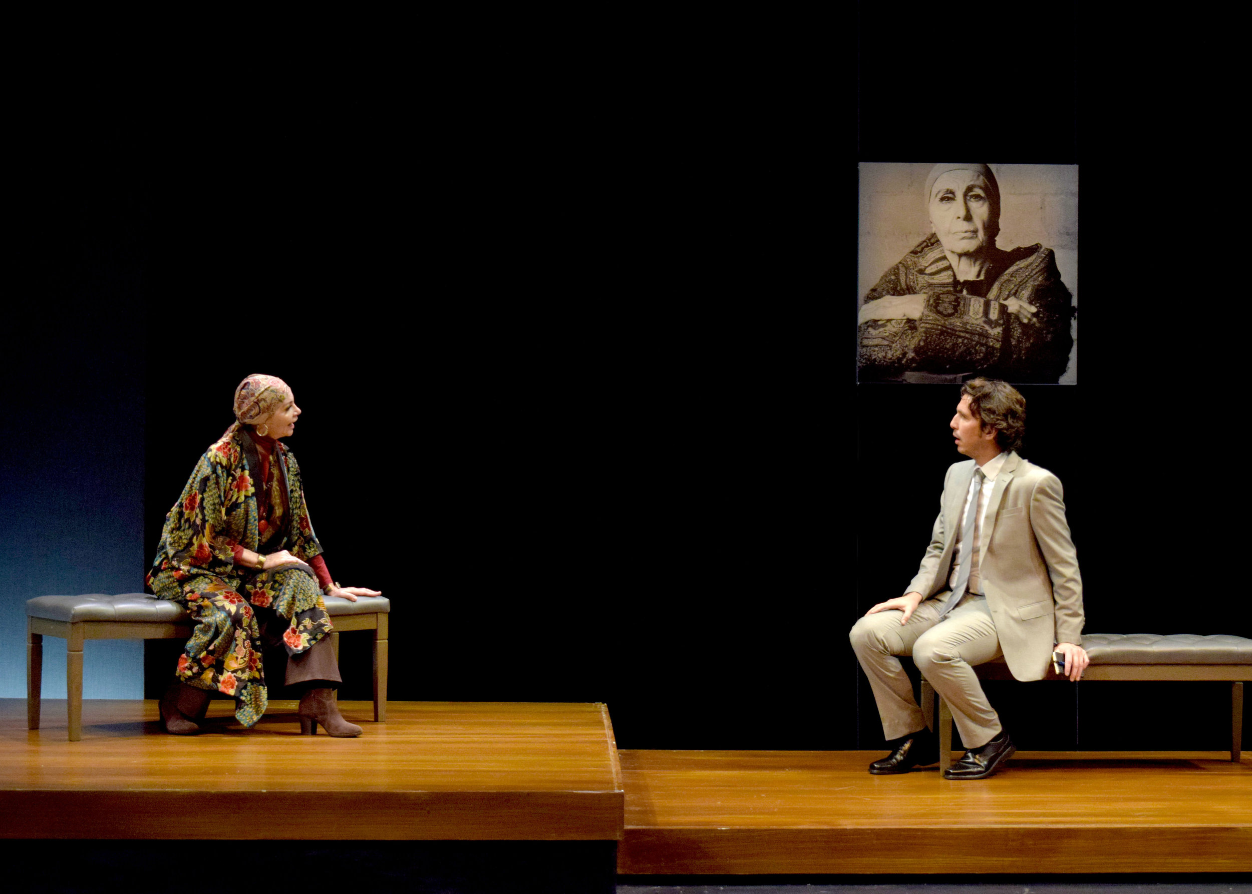 Martha Hackett and James Liebman in the west coast premiere of Edward Albee's Occupant at the Garry Marshall Theatre. Photo by Chelsea Sutton.