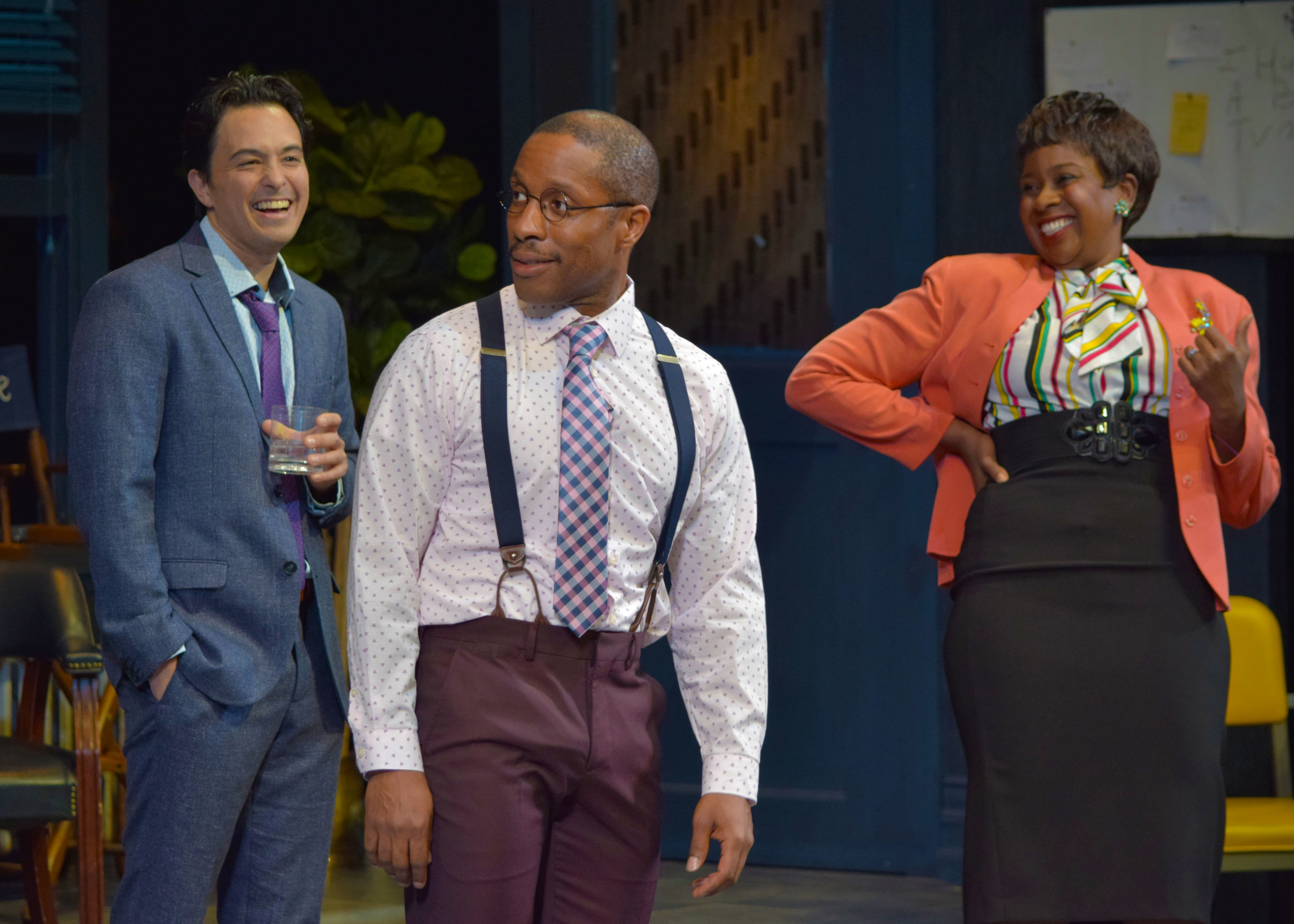 Lucas (Jason Grasl), Kenny (Cornelius Jones, Jr.), and Carol (LaNisa Renee Frederick) in Laughter on the 23rd Floor at the Garry Marshall Theatre.