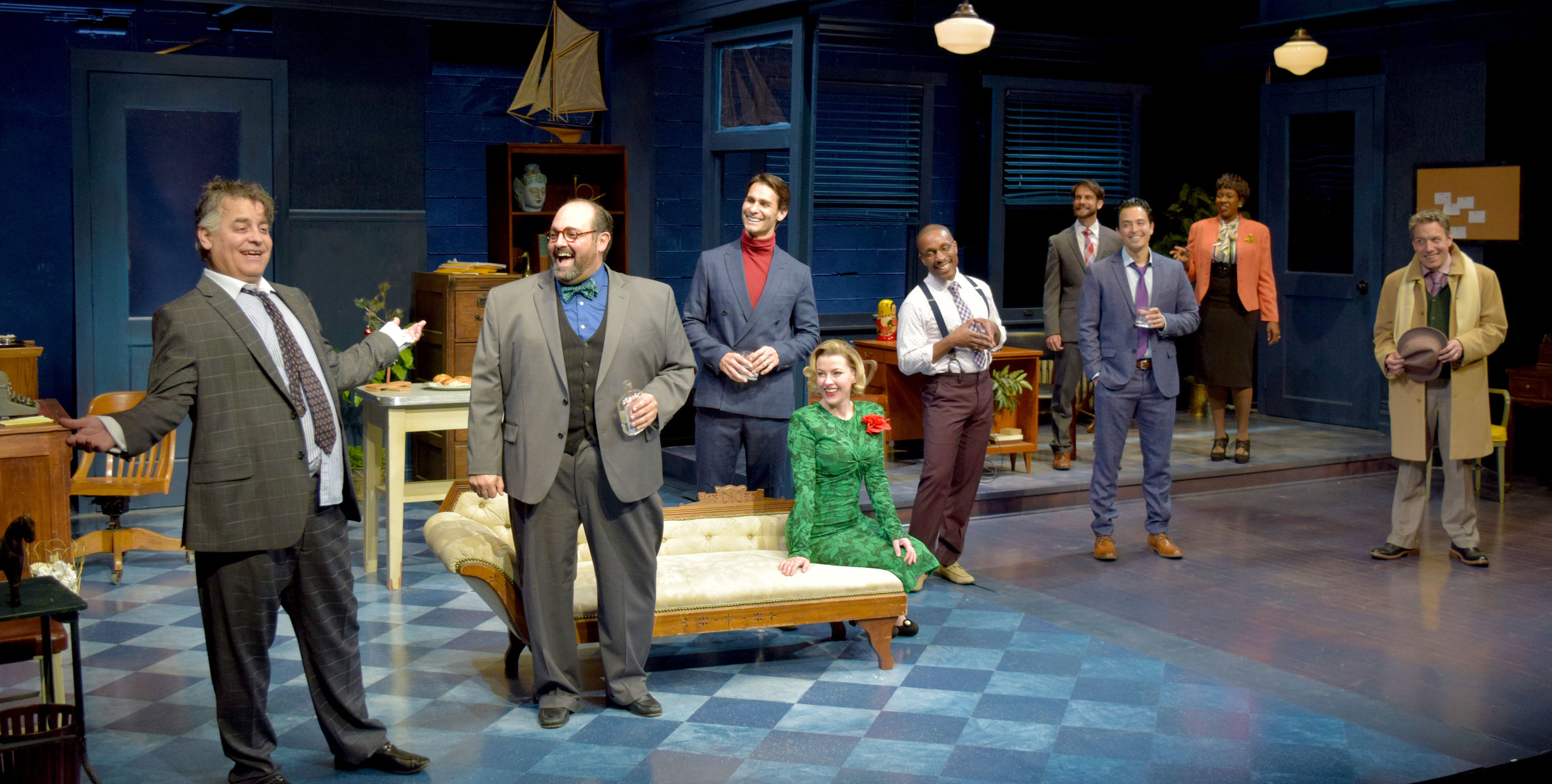 Max (Pat Towne), Val (Roland Rusinek), Milt (Ty Mayberry), Helen (Jessica Joy), Kenny (Cornelius Jones, Jr.), Lucas (Jason Grasl), Ira (Jeff Campanella), Carol (LaNisa Renee Frederick), and Brian (John Ross Bowie) in Laughter on the 23rd Floor at the Garry Marshall Theatre.