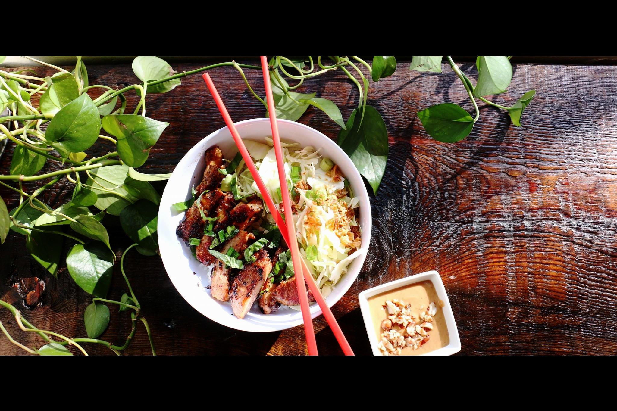 Nasi Ayam (Grilled Chicken atop Coconut Rice, Peanut Satay Sauce)