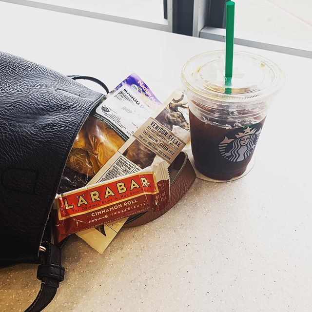 Fun fact about me? I get #hangry. So I literally always have snacks spilling out of my bag. Eating well while #traveling takes planning, but it's not impossible. Pro tip: never expect you'll be able to find what you want at the airport. Before I left #Denver I stocked up on some #whole30 complaint @larabar @epicbar and organic dried mango from @naturalgrocers. I prefer not to snack all day long, but a girl's got to do what a girl's got to do!