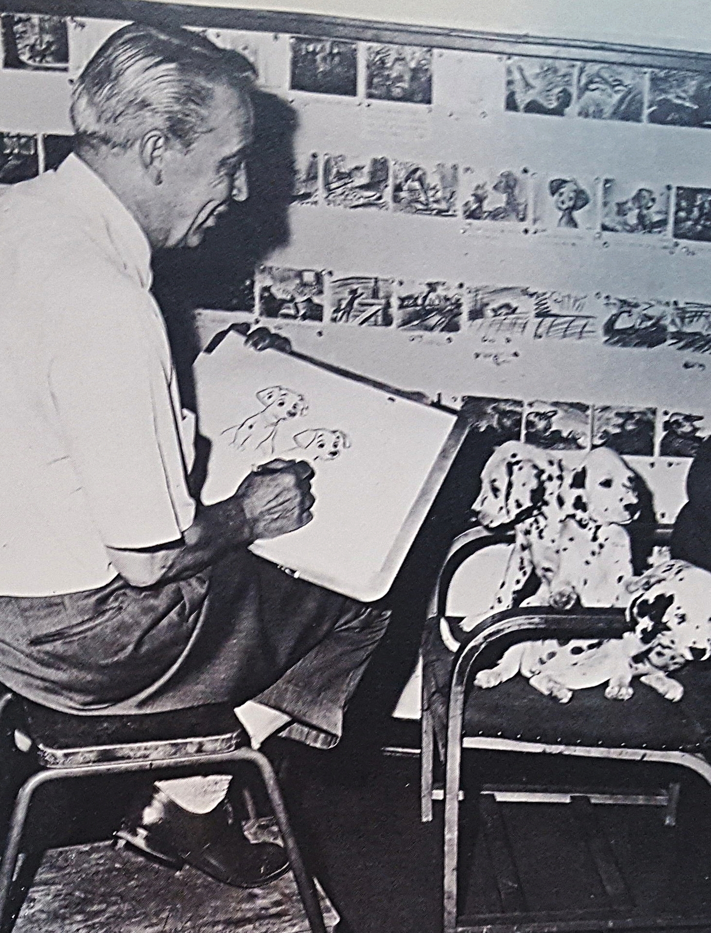 Unnamed animator sketching puppy modles (Walt Disney's Treasury of Children's Classics)