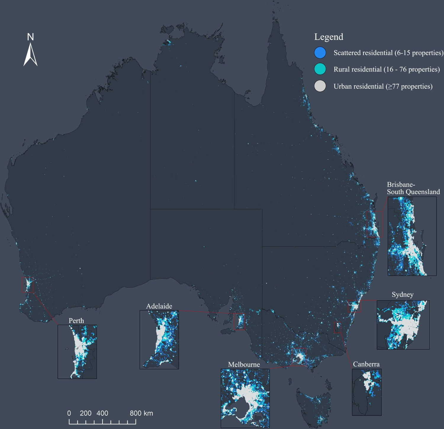 Figure 1: Where do Australians reside? Use of light at night as an indicator of population density and location.   (Source: Bin Xie & Yan Liu (2018) Visualizing Australia's urban extent: a comparison between residential housing addresses and night-time light data. See https://doi.org/10.1080/21681376.2018.152664)
