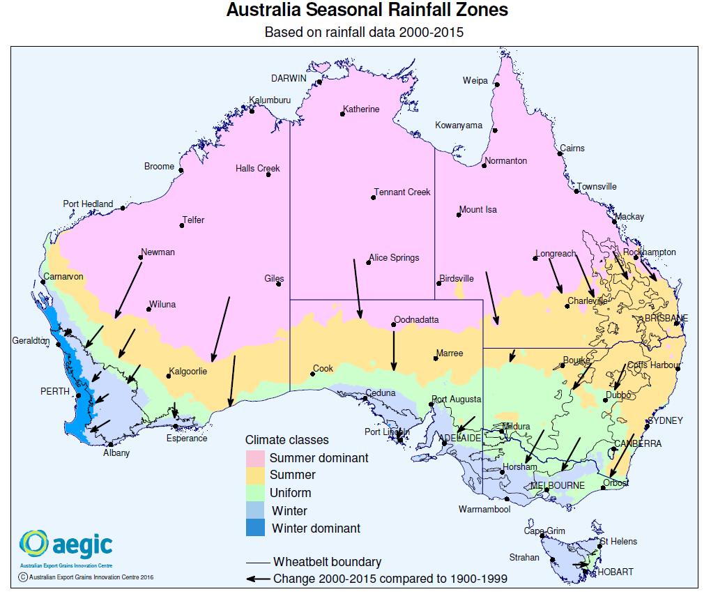 Figure 1: The spatial shift in Australia's climate classes.