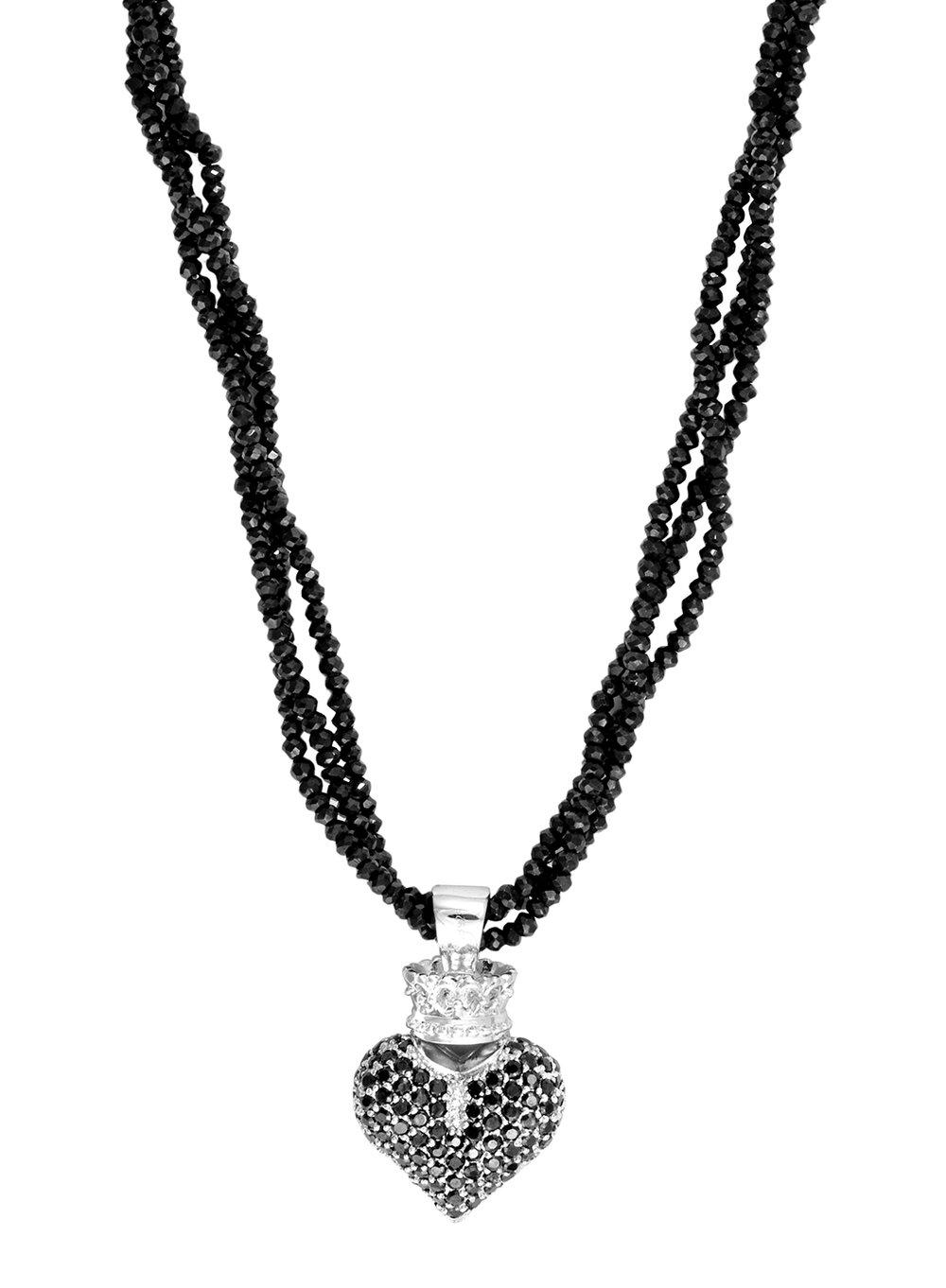 Pave black spinel 925 Sterling Silver natural gemstone black charms Pendant pave jewelry HEART Pendant pave black diamond 25 mmx 22 mm E-344