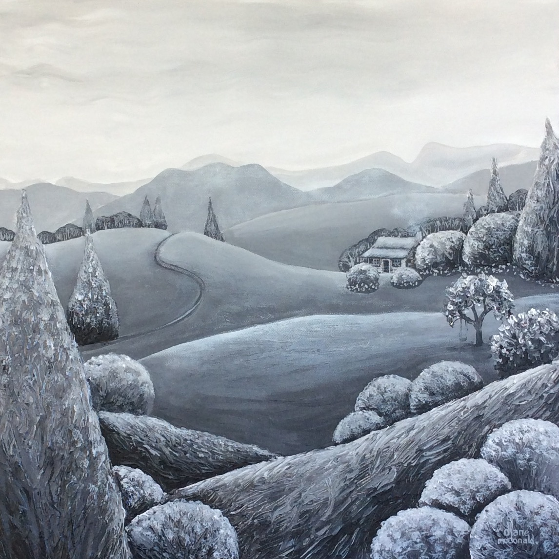 - Mountains In The Mist 46 x 46cm $250 (SOLD)