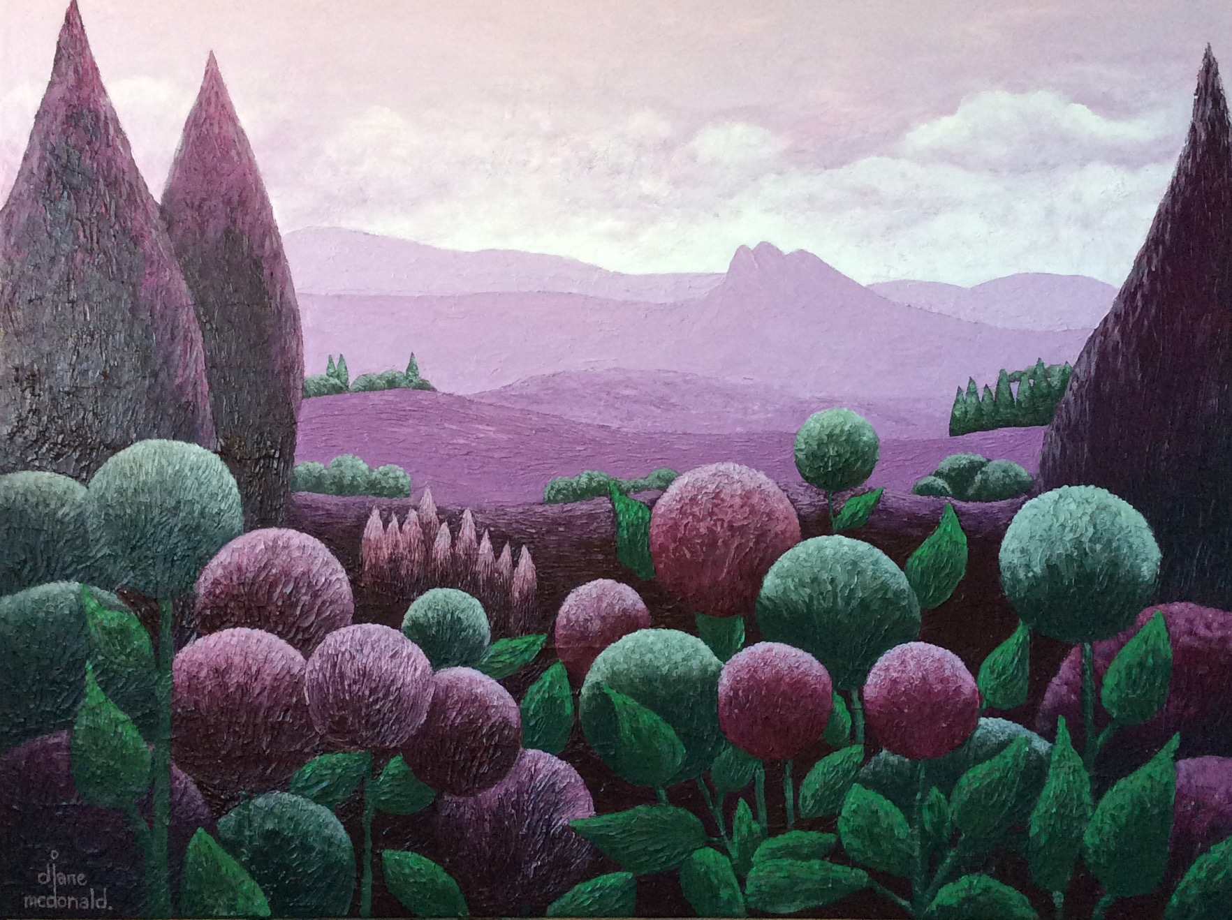 - Mountains In Mulberry 122 x 92cm $1800
