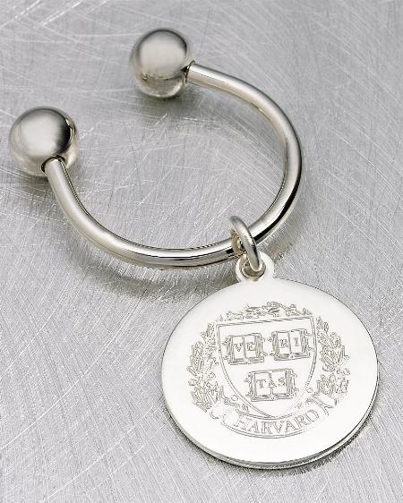 Dual ball key ring in silver plate finish with custom medallion   22-2100