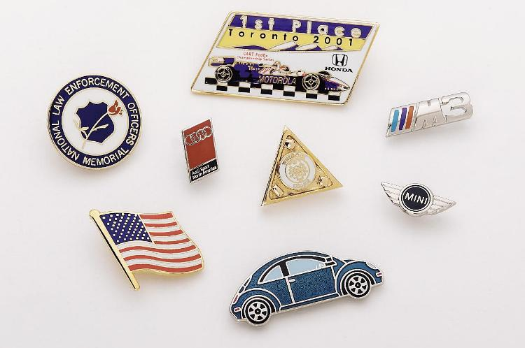 Die Struck enamel filled Promotional Pins - Made in USA
