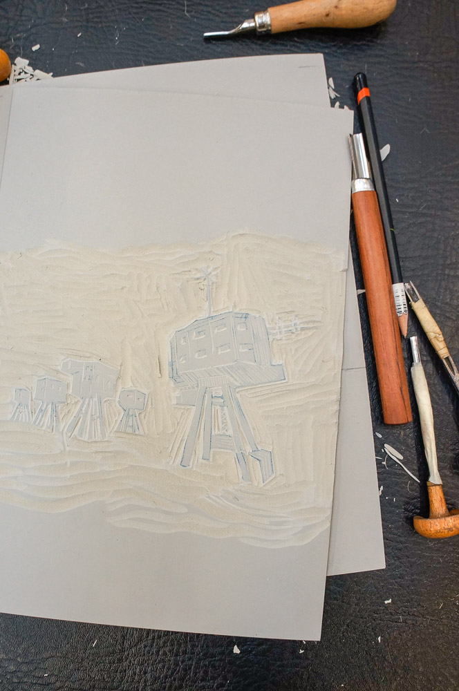 lino cut details of maunsell sea forts for key block, space was left for more caustic solution to be brushed on.