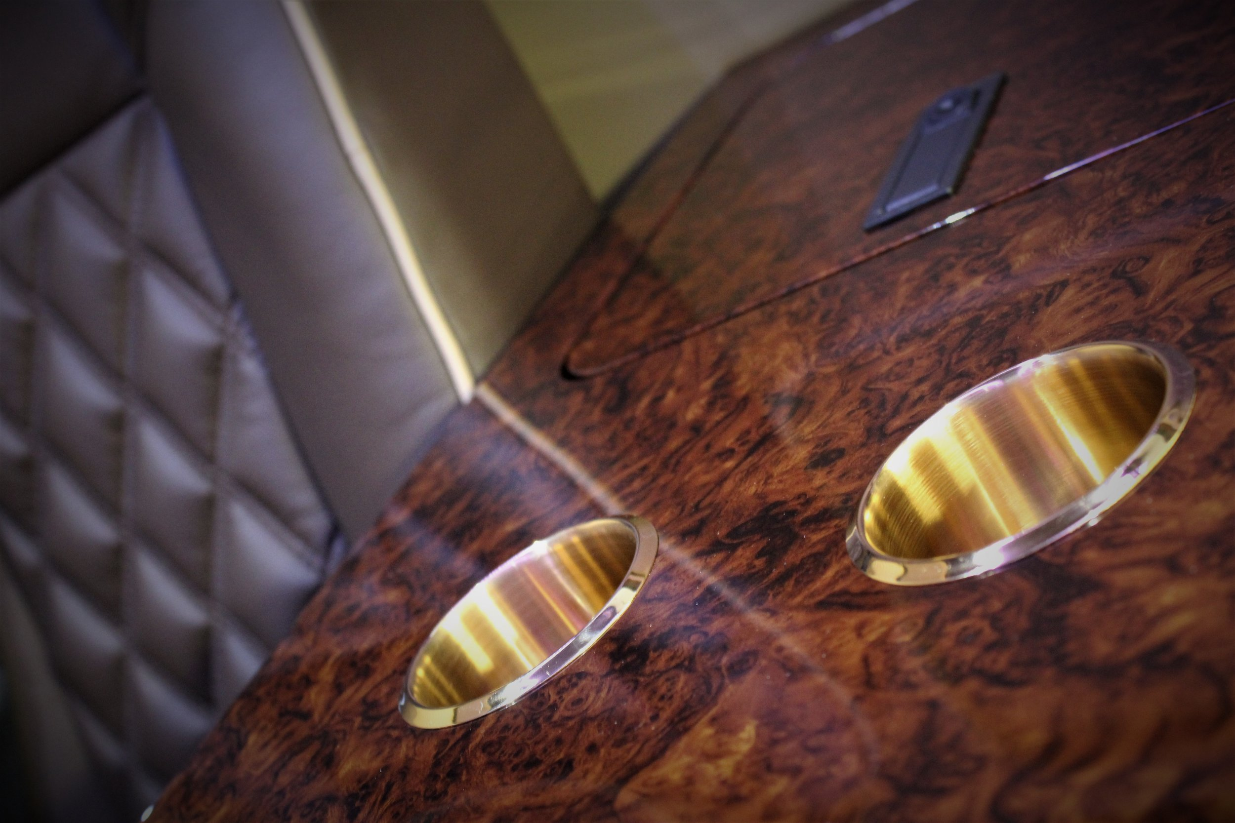 The Monaco even features 24 carrat gold plated cup holders