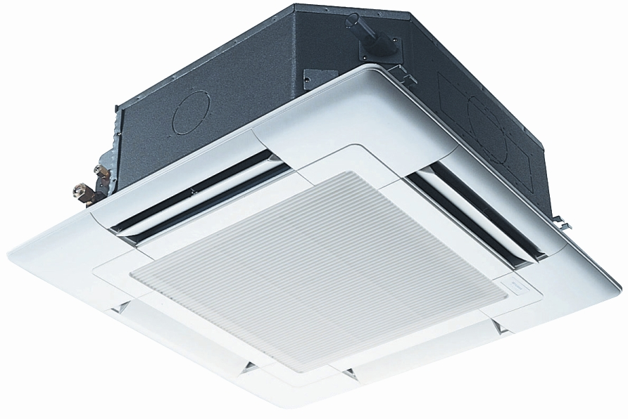 Ceiling Cassette Units - Suitable for recessing into suspended ceilings. Indoor units distribute air in four directions with the facility to shut one or two outlet vanes to suit the room layout.