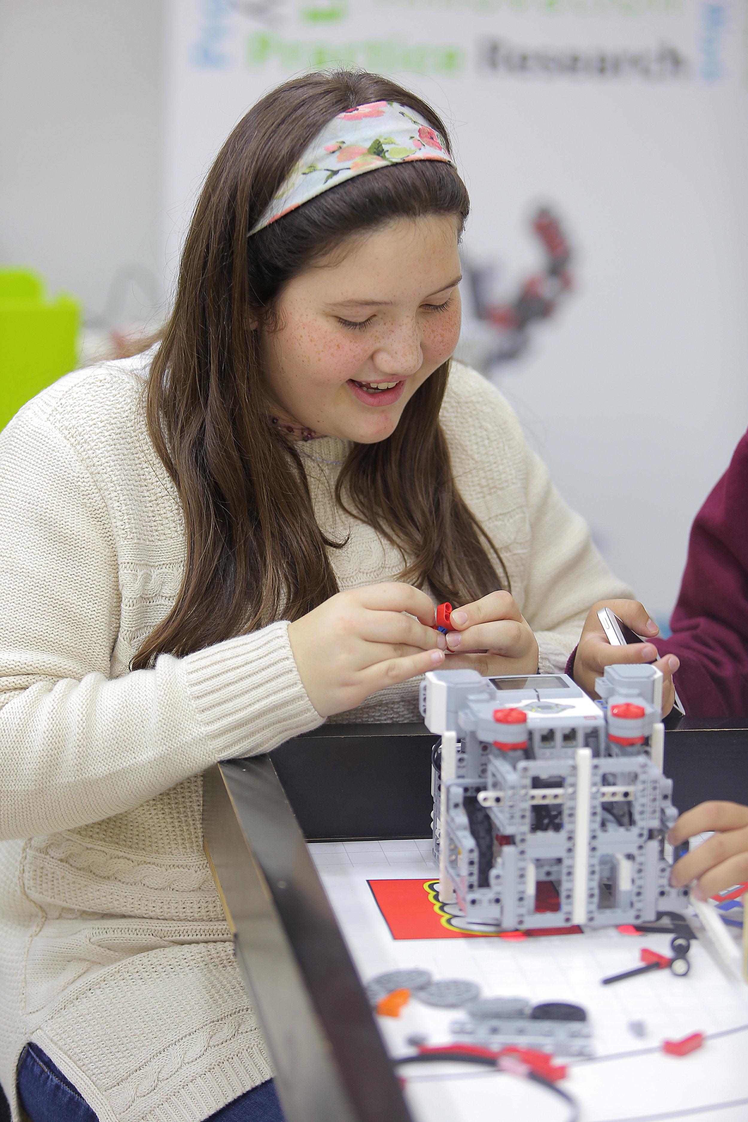 Abeer working on her EV3 Robot