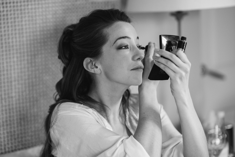 Granary Estates wedding photo - bride putting on her makeup
