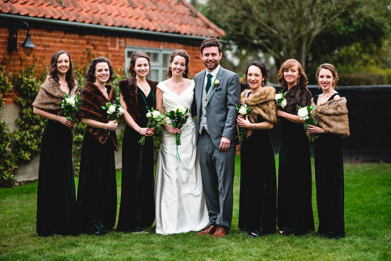 Granary Estates wedding photo - bride and groom and bridesmaids