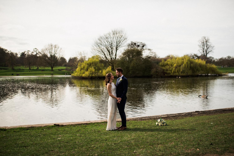 St Albans Wedding Photographer - Bride and groom in Verulamium Park