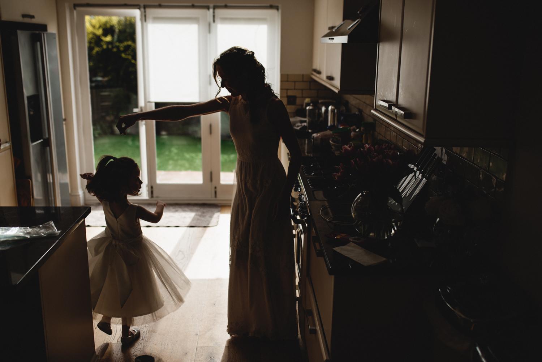 St Albans wedding - bride and flowergirl
