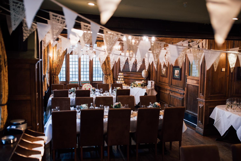 St Albans wedding - table set for wedding breakfast