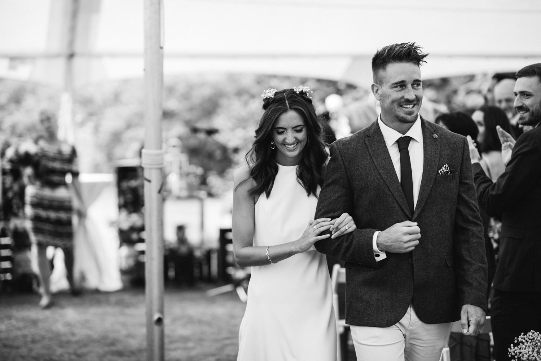Newhall Estate Edinburgh Wedding - Bride and groom walk down aisle