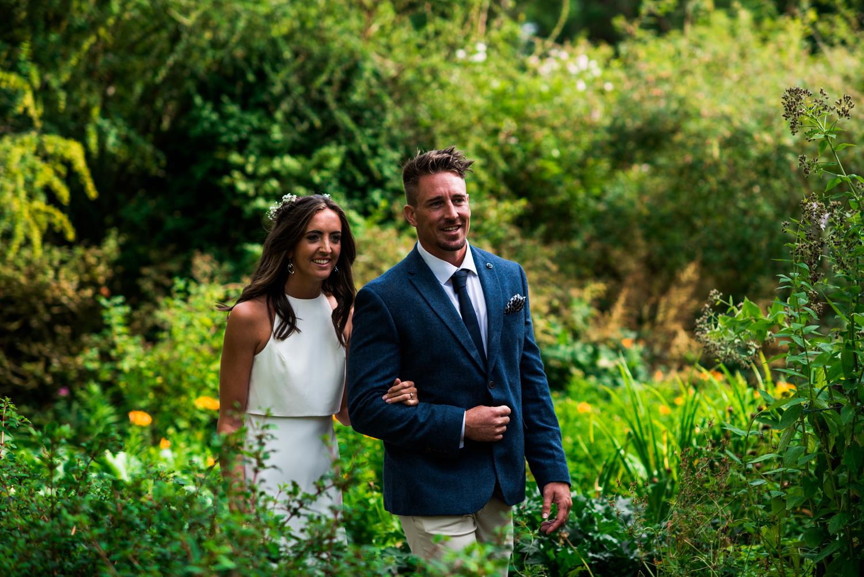 Newhall Estate Edinburgh Wedding - bride and groom in the garden