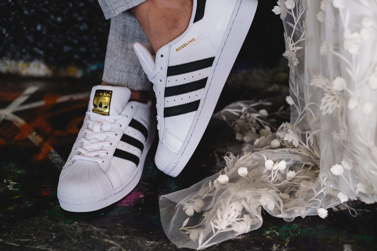 London pre-wedding photos - custom adidas trainers