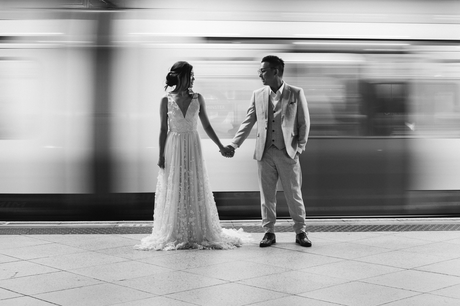 London pre-wedding photos - on the underground