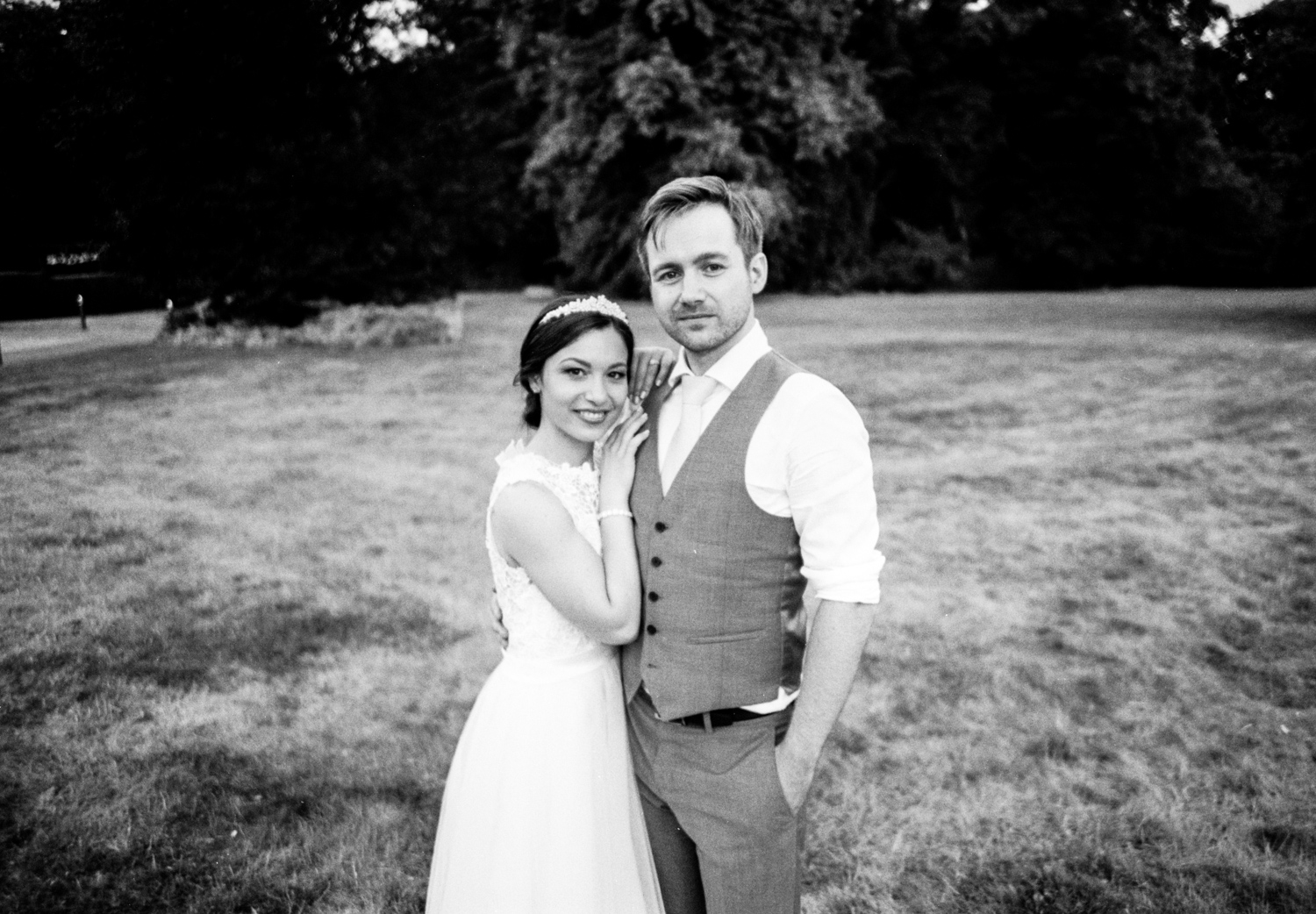 Photographing with film at weddings - a bride and groom
