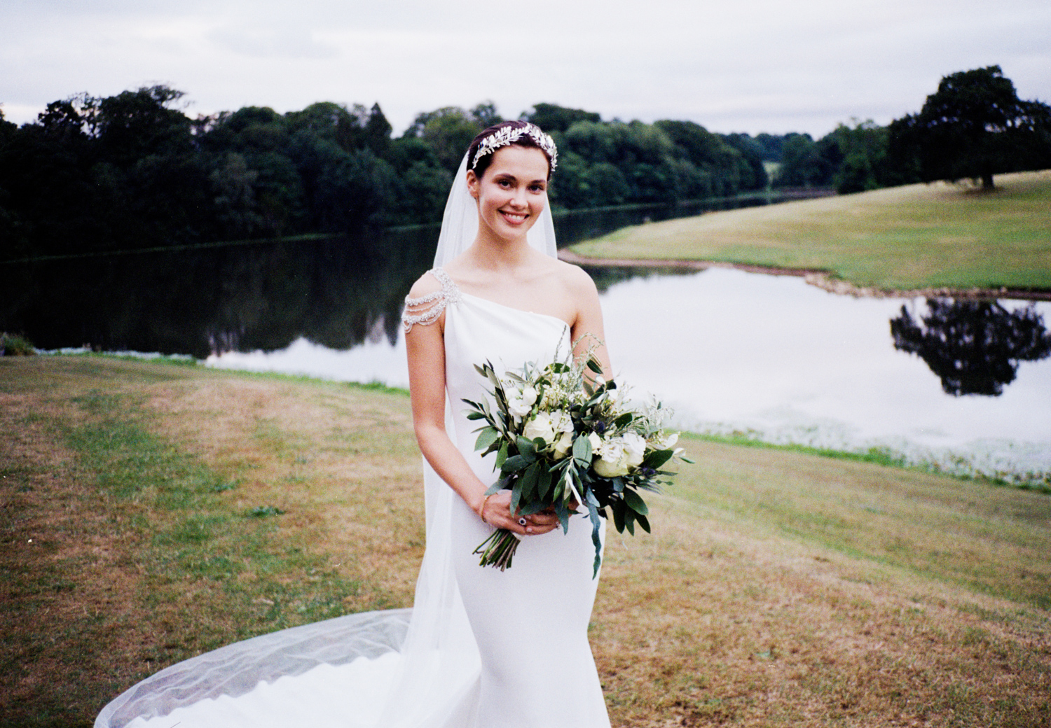 Photographing with film at weddings - a bride with flowers