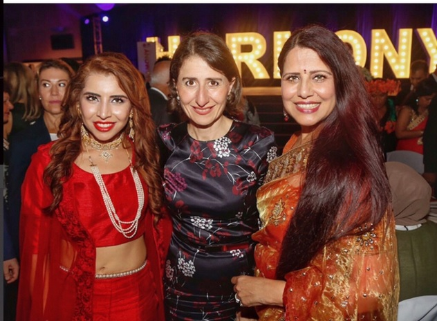 Shaizy with NSW Premier - Glady Berejiklian and Lucky Singh, from GNKFS Homeless Charity, at the NSW Premier's Harmony Dinner in March 2017