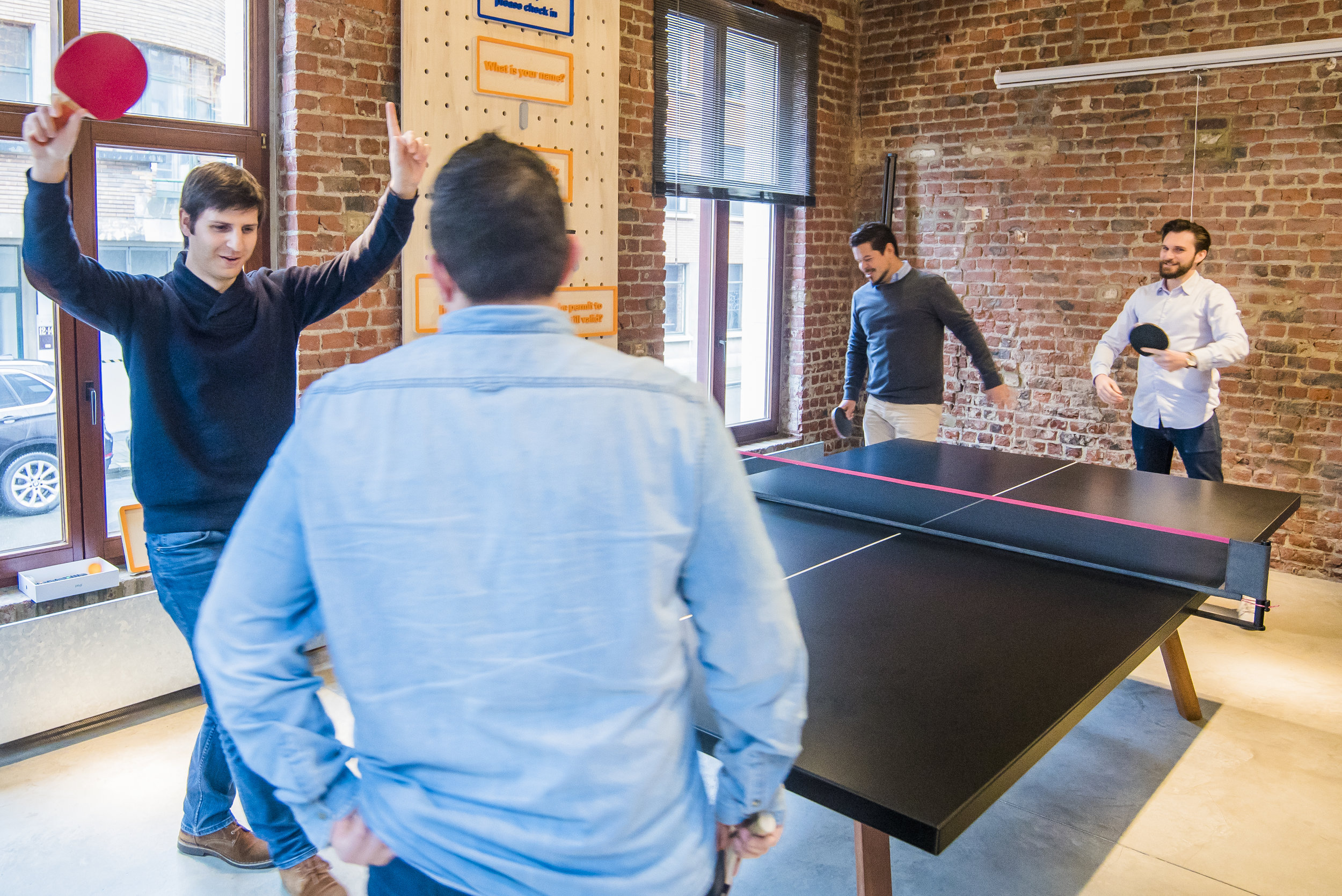 Make communal areas comfortable, like adding a ping pong table for your team to come together beyond the cubicle or boardroom.