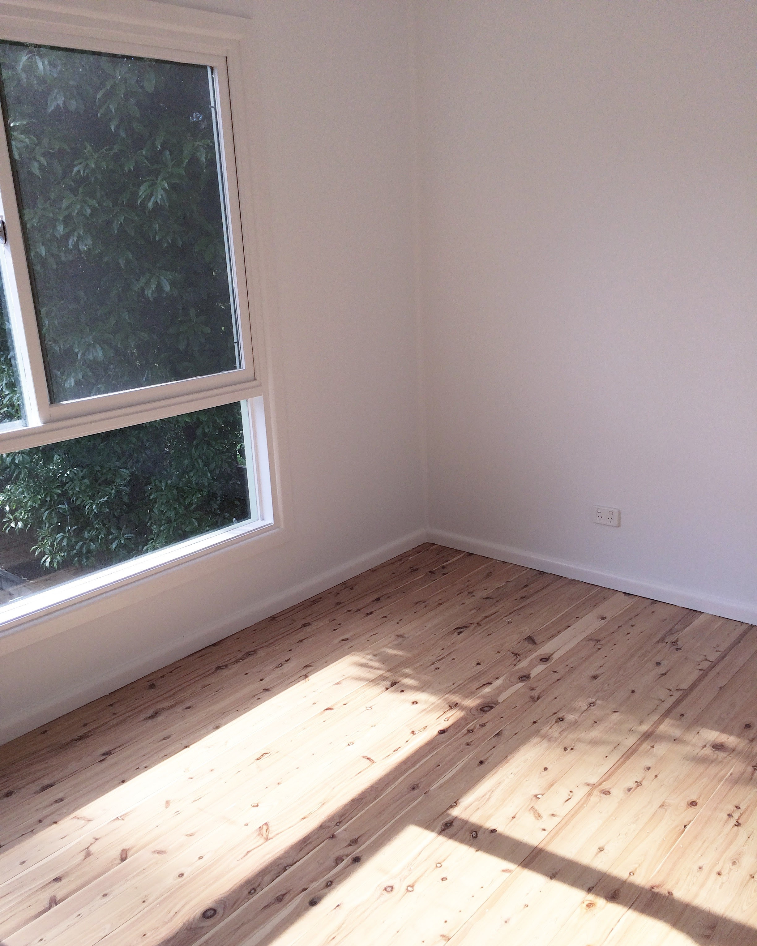 FRESH PAINT AND SANDED FLOORS WITH A WATER-BASED POLYURETHANE MATT FINISH