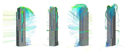 Turbulent flow around a procedurally generated tall building, various views (Wilkinson, 2013).