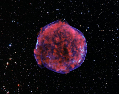 All the constituent elements of the universe exist in this rich chemical cloud. It looks like a biological cell of a diameter measured in microns, but its not. This image was taken in 2009 by NASA. It's the remnant of a supernova explosion that occurred in our galaxy in 1572, as recorded by the Danish Astronomer Tycho Brahe. It's 55 light years in diameter—that's 5¹7 meters. Credits: X-ray: NASA/CXC/Rutgers/ K.Eriksen et al.; Optical: DSS