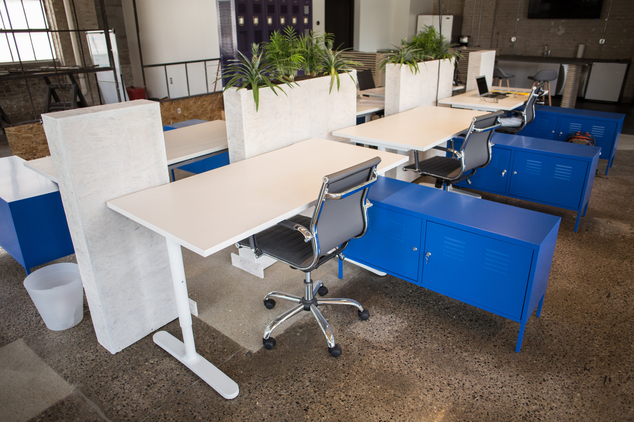 DEDICATED WORK STATION -  $495/mo   This space is yours. You get a permanent desk, lockable storage cabinet, and personal locker. Fly your brand, store your stuff and make yourself at home. You get all the amenities of Blueprint Collaborative, priority event scheduling, and 24/7 access.
