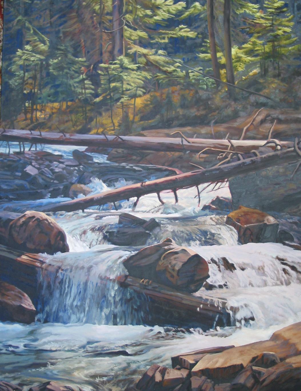 Waterfall South of Jasper Alberta, 48 x 36, oil