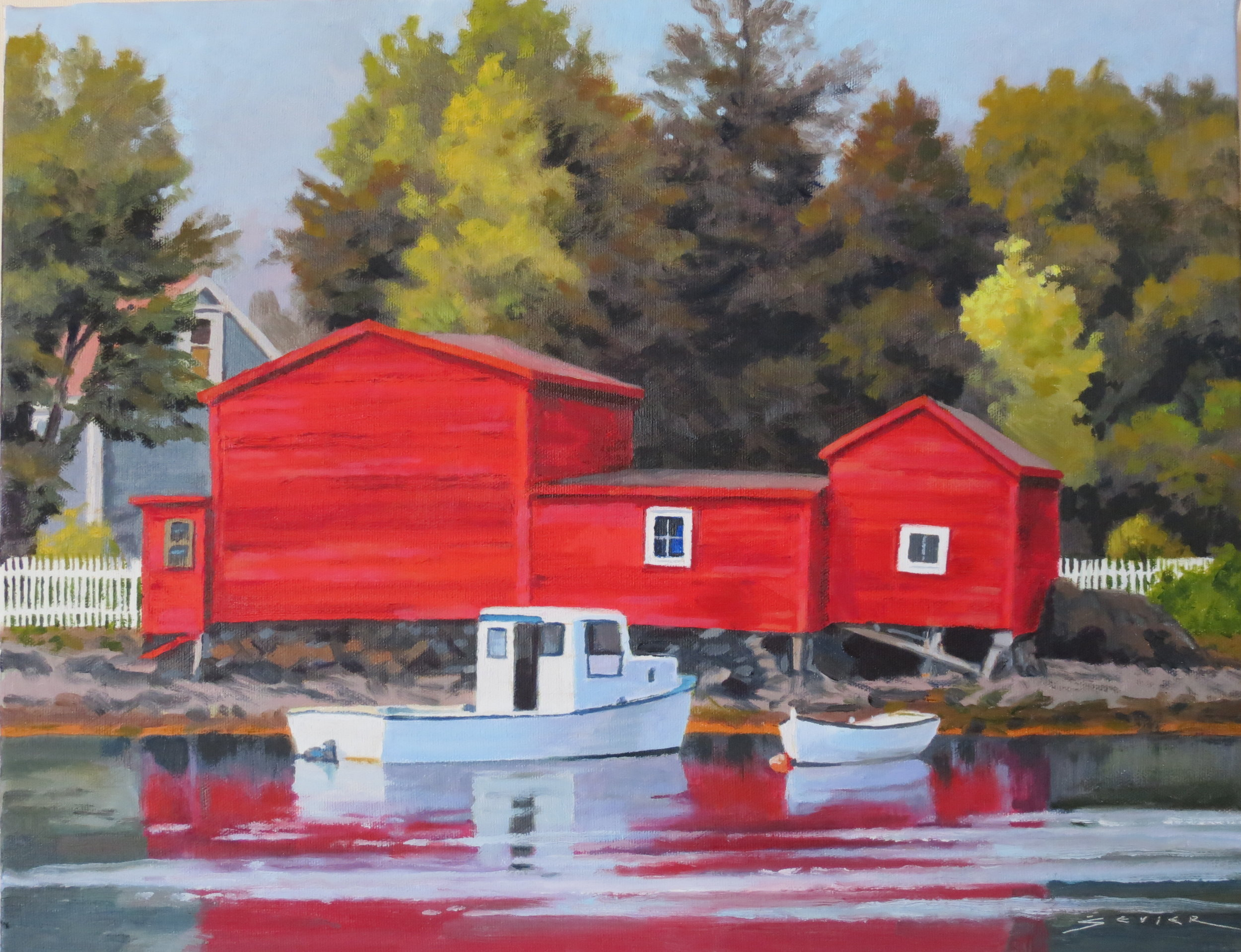Red Sheds/NFL, 14 x 18 oil