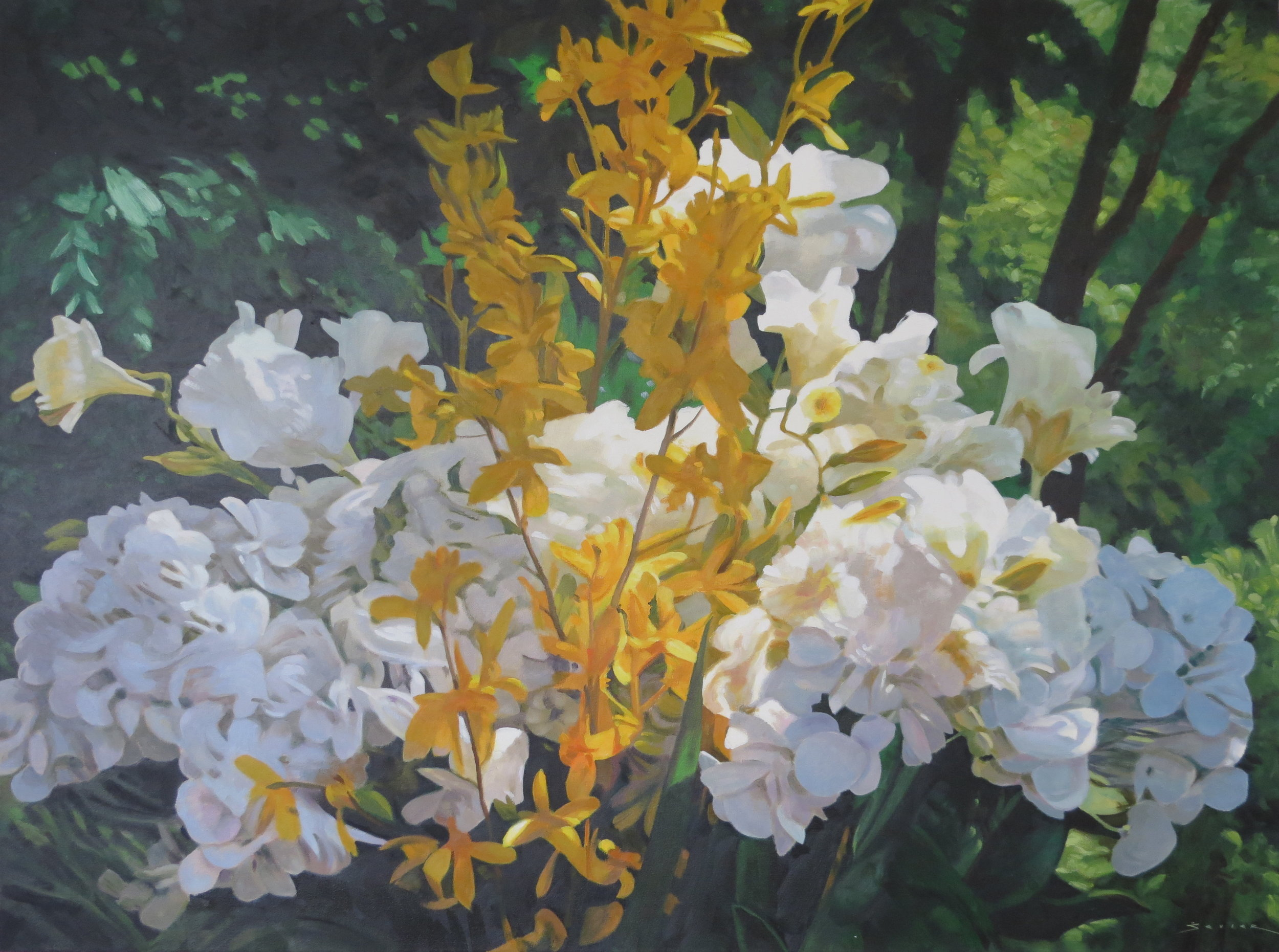 Flower Study in White, Yellow & Green,  36 x 48, oil