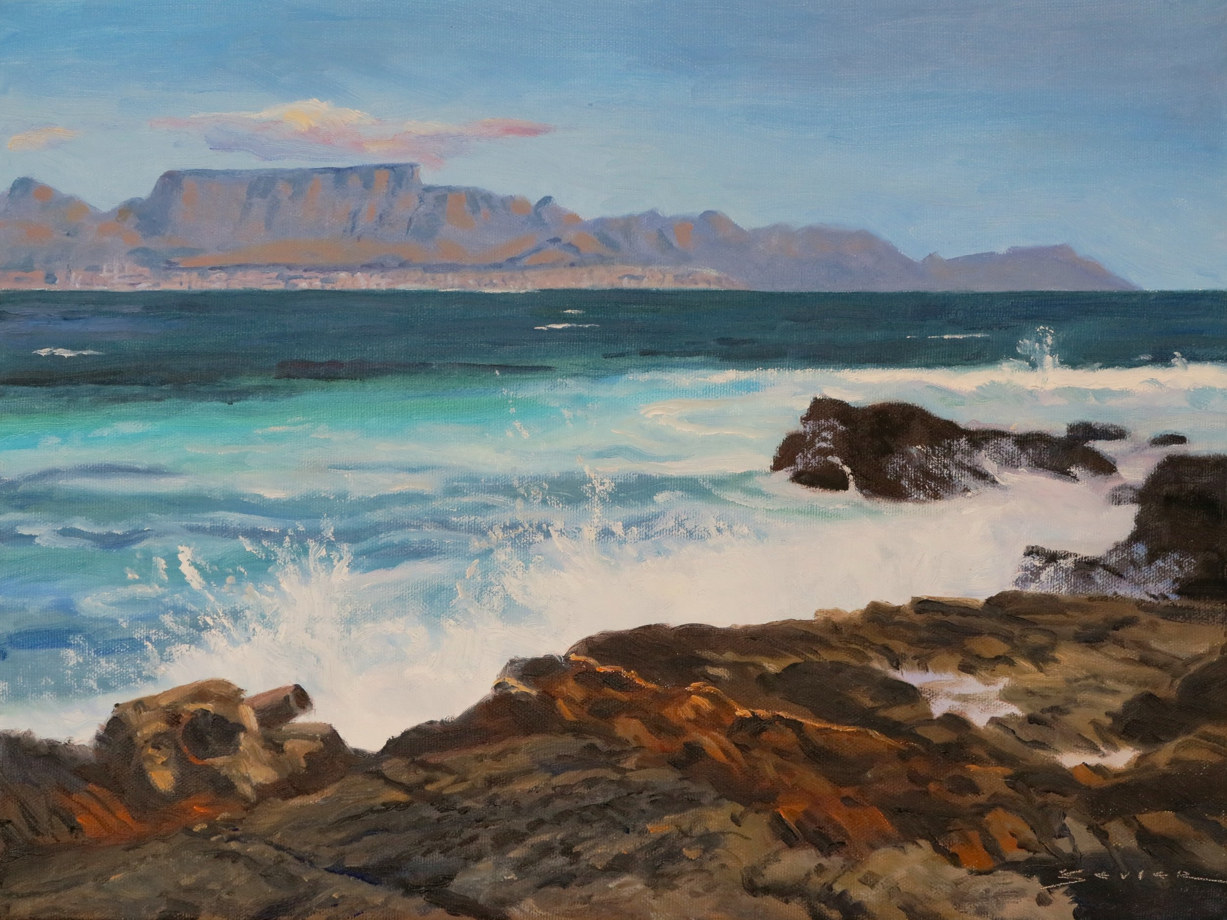 Table Mountain from Robben Is. 12 x 16