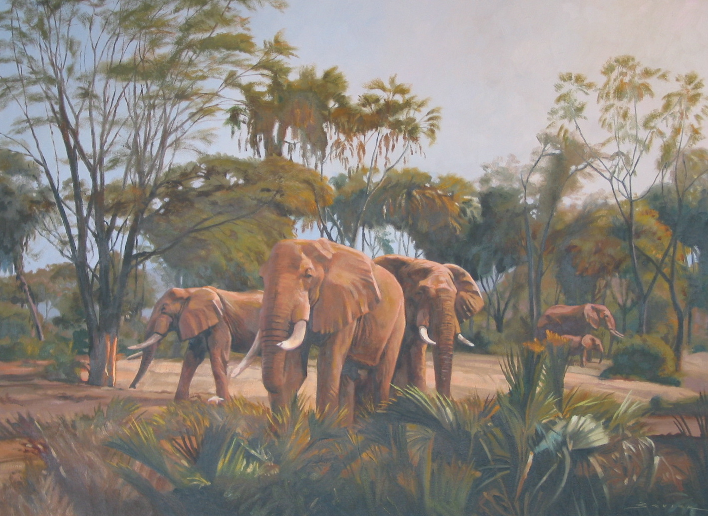 Elephants/Masai Mara Kenya, 22 x 30, oil