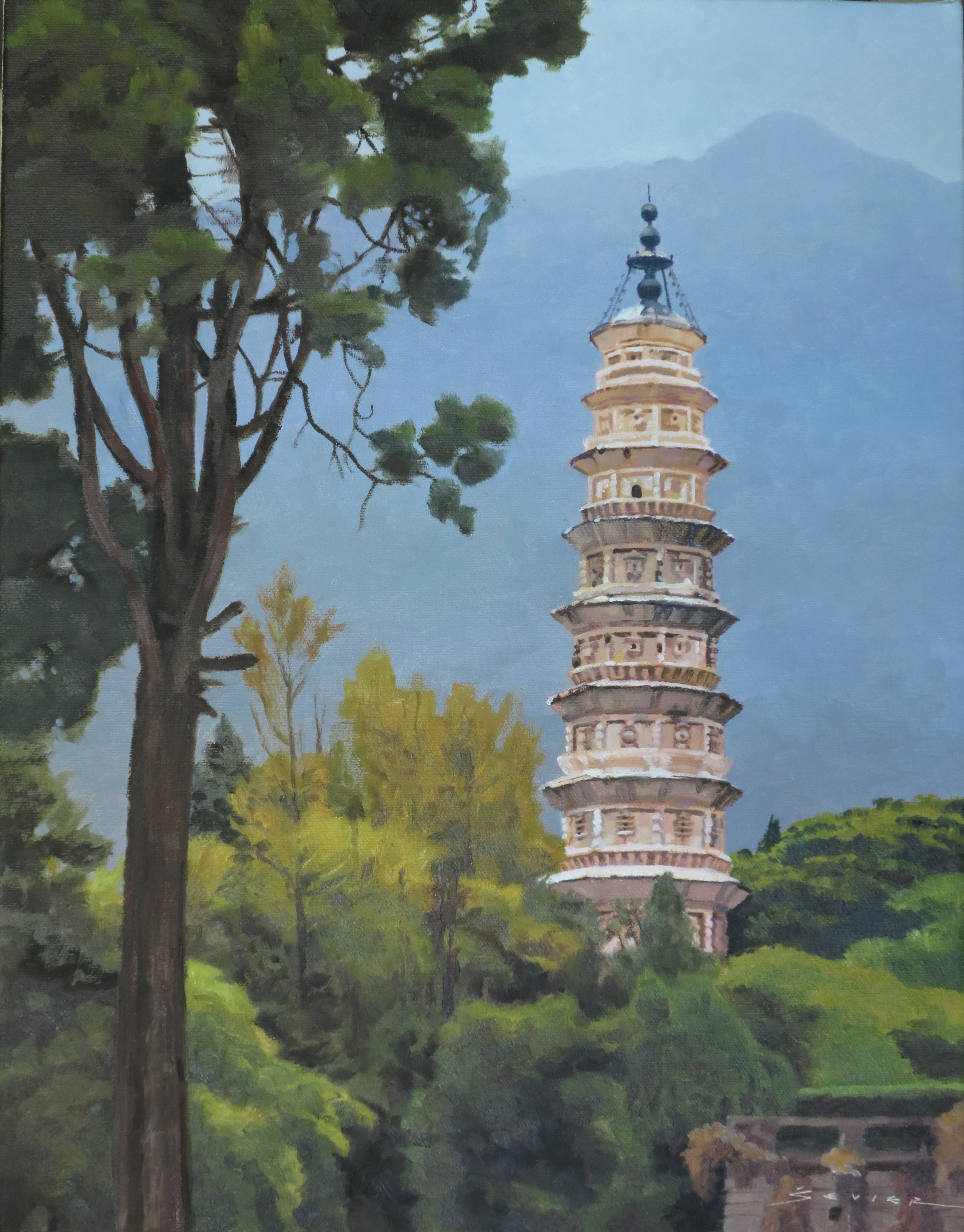 One of Three Pagodas, 18 x 14, oil