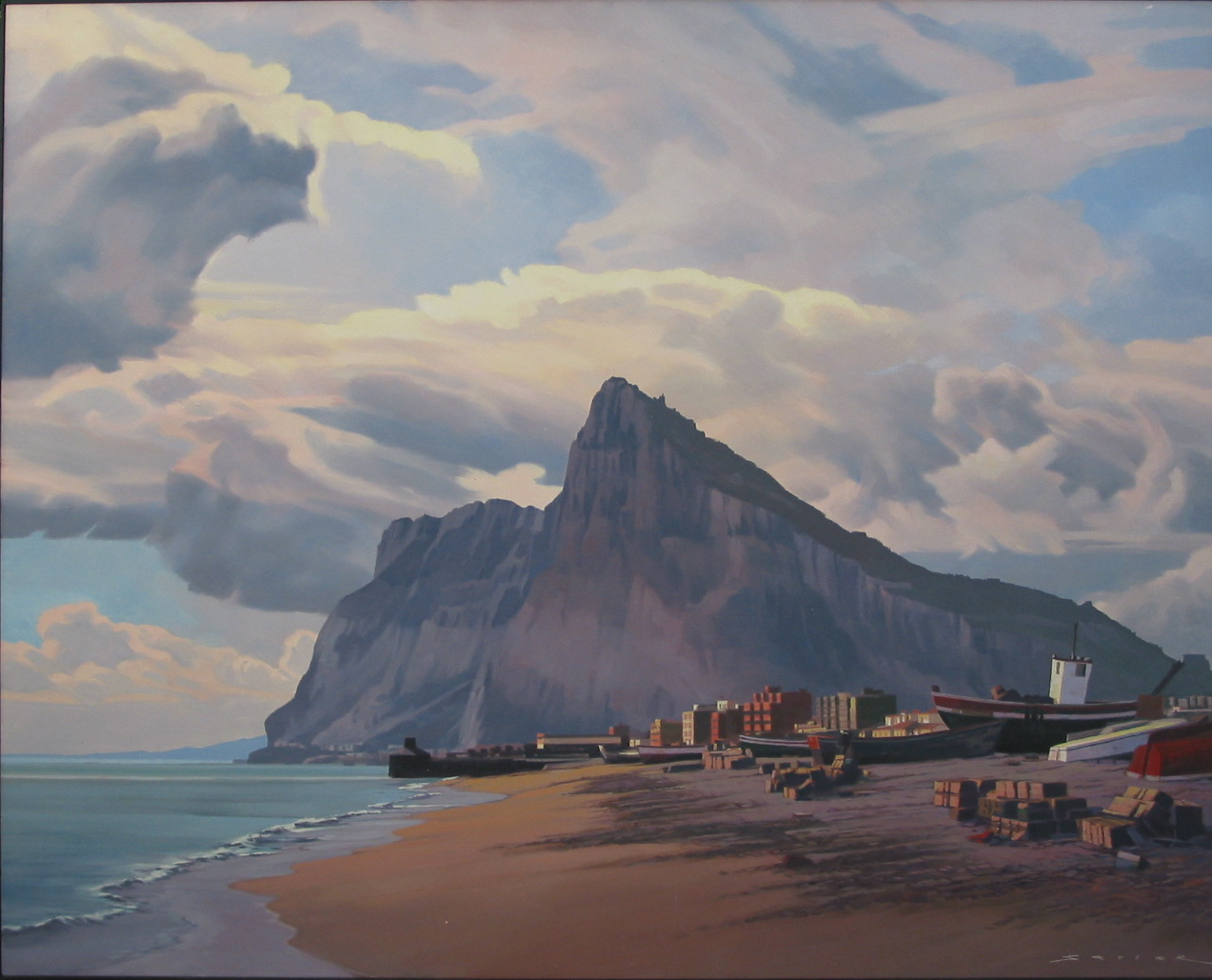 Gibraltar Looking West, 60 x 48, oil