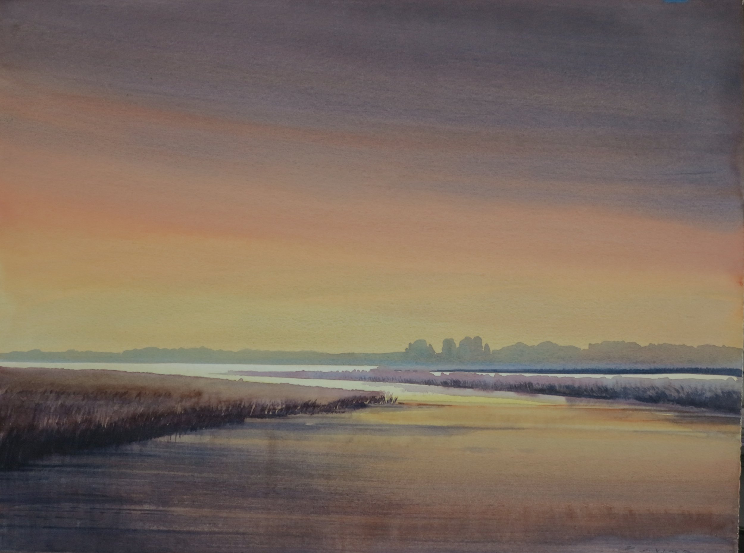 Evening at Long Point 22 x 30 watercolour