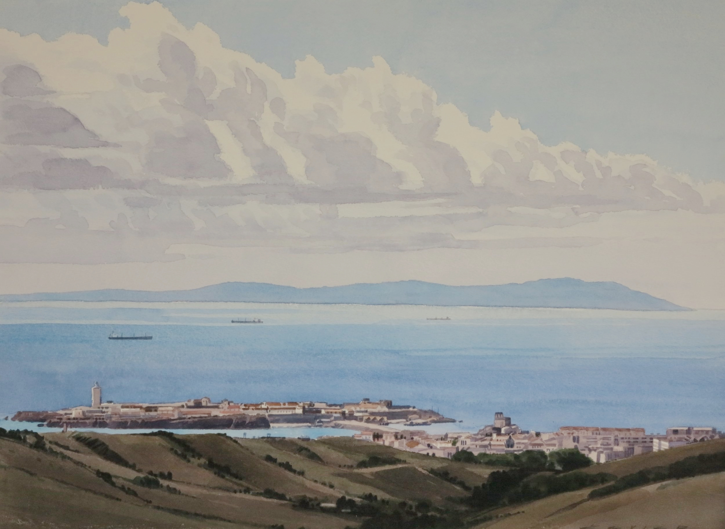 Tarifa, Spain Looking South to Africa 22x x30 watercolour