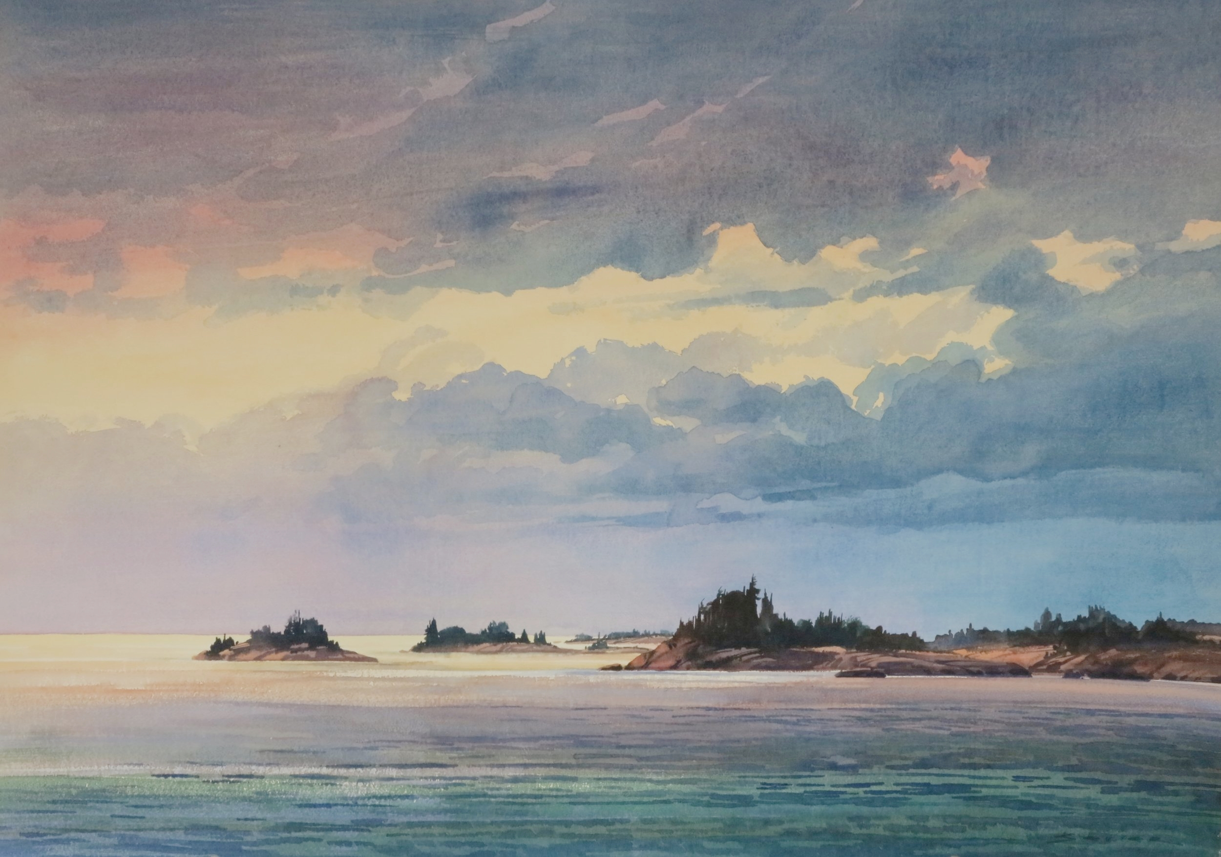 Evening Geo. Bay 29 x 41 watercolour